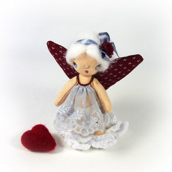 Valentine gift - Miniature cloth textile doll - 3,5 inch (9 cm) Butterfly doll