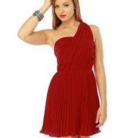 Beautiful Red Dress - One Shoulder Dress - Pleated Dress - $55.00