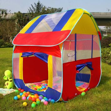 New Kids Play House Tent Portable Foldable Prince Folding Tent Children Boy Castle Cubby Play House Kids Gifts Outdoor Toy Tents