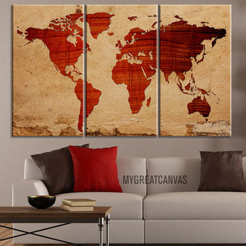 Canvas print wooden background world map from edecorshop on etsy canvas print wooden background world map canvas print 3 panel canvas art print rea gumiabroncs Image collections