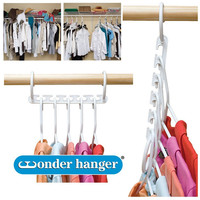 Wonder Hanger 10 Pack Plastic Closet Clothes Organizer/Space Saver,White