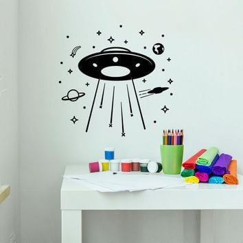 Vinyl Wall Decal Cartoon Alien Ship Cosmos Saturn Planet Stars Stickers (2786ig)