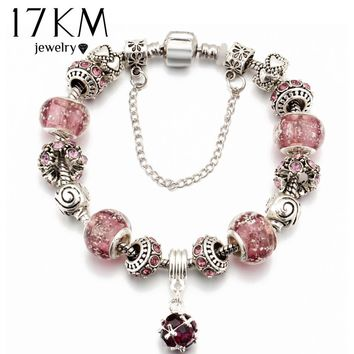 17KM 2016 European Vintage Silver Plated Charm Glass Bracelets & Bangles For Women Crystal Heart Ball Beads Pulseras DIY Jewelry