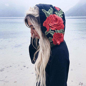 Rose Embroidered Hooded Sweatshirt