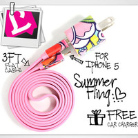 3in1 Pink Summer Fling iPhone Charger (For iPhone 5 and iPhone 4/4s in 3ft and 10ft long cable)