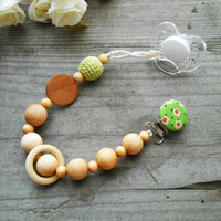 eco-friendly pacifier clip with natural wooden beads wooden teething ring natural Handmade Green Pacifier Clip Crochet wood pacifier holder