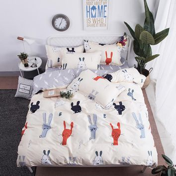 Home Textile King-Twin Bedding Sets Girls Boy Kid Teens Bedlinen cartoon Lovely Rabbit Duvet Cover Pillowcases Bed Sheet 3/4Pcs