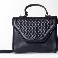 1980's vintage black leather purse, quilted cross body handbag