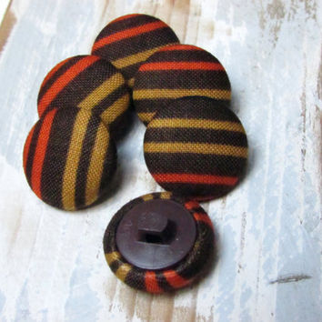 Fabric Buttons - Brown Fabric Covered Buttons - 6 Small Buttons - Brown Orange Mustard Stipes Fabric - Sew Buttons