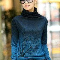 'The Ricarda' Branch Pattern Turtle Neck Sweater