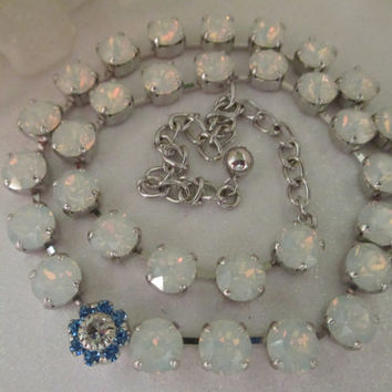 Swarovski something blue crystal necklace bridal bridesmaid something blue, white opals #39.