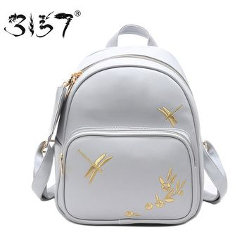 fashion women leather backpack set handmade embroidery dragonfly floral school bags for girls small newest female backpacks 3157
