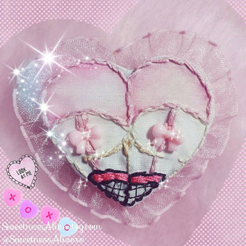 Kawaii Lingerie Booty Heart Patch / Pin back with pink bow