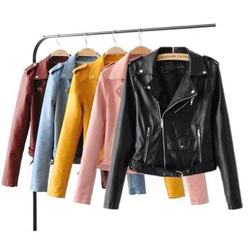 2018 brand ladies pu leather jacket coat blue and yellow Korean fashion casual PU wash punk fan female Pu leather jacket coat
