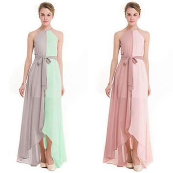 Fashion Multicolor Bow Drawstring Sleeveless Tassel Straps Irregular Hem Maxi Dress