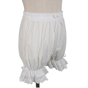 DCCKKFQ Sweet Cotton Lolita Shorts/Bloomers with Lace Trimming