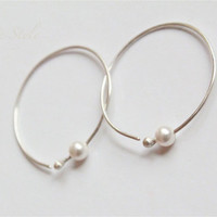 Open Hoop Ear Rings, swarovski Pearl Sterling silver,Contemporary eco-friendly handmade Luxe Style