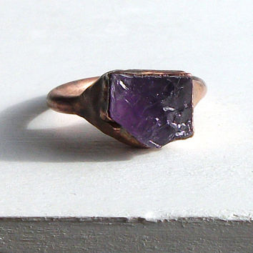 Raw Amethyst Ring Cocktail Gemstone Ring Birthstone Jewelry February Purple Violet Plum Rough Stone Ring