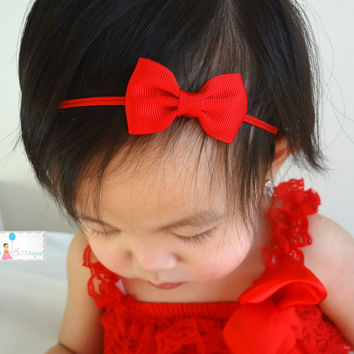 Christmas Bow headband, Petite Red Bow Headband