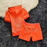 Juicy Couture Studded Logo Crown Velour Tracksuit 608 2pcs Women Suits Orange