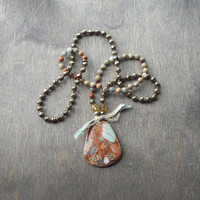 Handknotted Boho necklace,  stone bead jewellery, Long hippie necklace, Beach jewelry, Jasper pendant, earthy color beads