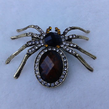 Rhinestone Spider   bronze  brooch  pin