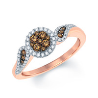 3/8 CT. T.W. Champagne and White Diamond Frame Cluster Ring in 10K Rose Gold