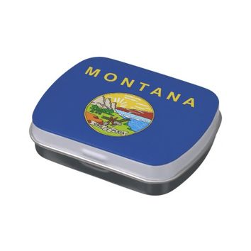Patriotic candy tins with Flag of Montana