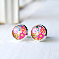 colorful post earrings, pink earrings, stud earrings, gifts for her