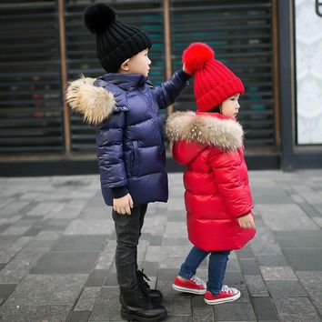 80% white duck down padded newborn jacket kids coat with raccoon fur hair real hooded baby girl boy tops snow winter clothes
