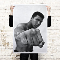 Muhammad Ali, pictured in 1966 oversized poster printed on canvas or paper