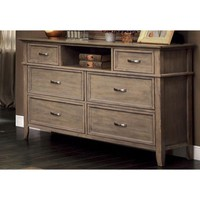 Sauv' Wooden Transitional Style Dresser, Weathered Oak Brown