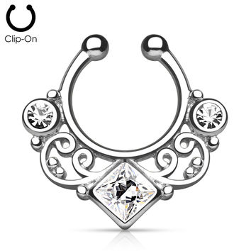 Steel Tribal Goddess Septum Clip-On