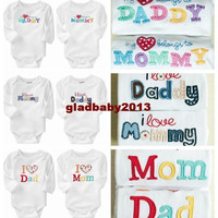 free shipping New 2014 full Sleeved Baby Romper i love Mommy&Daddy Baby Clothing