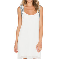 BCBGeneration Embroidered Yoke Dress in Whisper White Combo