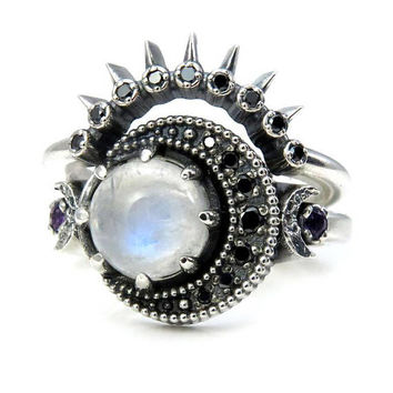 Moonstone Moon Engagement Ring with Black Diamond Sunray Wedding Band - Sterling Silver with Black Diamonds and Amethyst