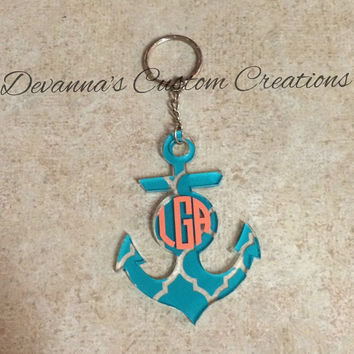 Quarter Foil Monogrammed Anchor Key Chain