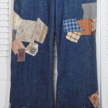 Hippie Bell Bottom Patch Jeans Upcycled Clothing Ditty Jeans Hidden Stash Pocket Size 11 Bellbottom Pants Patched Denim High Waist
