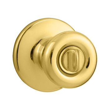 Kwikset® 300T-3 Tylo Privacy/Bed/Bath Knob Lockset, Polished Brass Finish