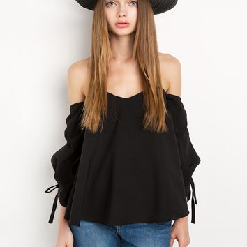 Black Off The Shoulder Balloon Sleeve Top