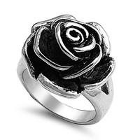Stainless Steel High Polish Oxidized 21mm Rose Flower Design Fashion Ring Band - Size 8