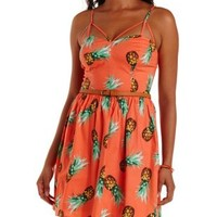 Orange Combo Strappy Pineapple Print Skater Dress by Charlotte Russe