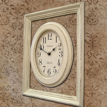 Shabby Chic Wall Clock With Showcase Frame by MountainCoveAntiques
