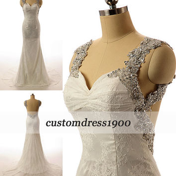 Vintage Cap Sleeve White/Ivory Sexy Open Back Sweep Train-Lace Wedding Dress
