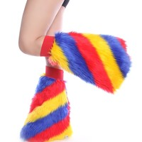 Clubstyle Clothing Red, Yellow, and Blue Candy Stripe Fluffies