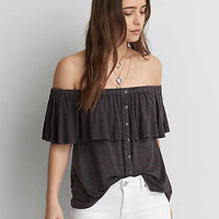 AEO Button Off-the-Shoulder Top, Dark Gray