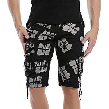 Fashion Men's Cargo Shorts Knee Length summer Casual board shorts beach sweatpants multi pockets