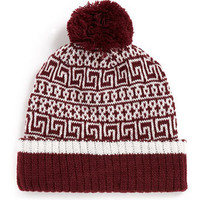 BURGUNDY PATTERN BEANIE - Hats   - Shoes and Accessories