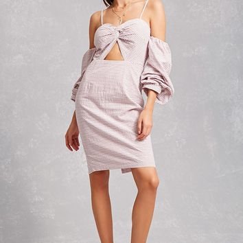 Open-Shoulder Striped Dress
