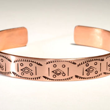 Copper Cuff Bracelet Imprinted with Handmade Native American Metal Stamps, Free Spirited Artisan Craftsmanship and Rustic Southwestern Flair